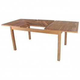 Boston Rustic Handcrafted Teak Wood Extension Dining Table