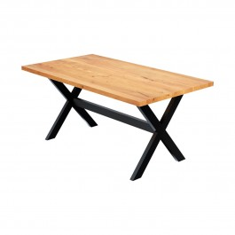 Rustic Solid Mango Wood Industrial Iron Dining Table Natural
