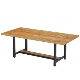 Rustic Mango Wood Industrial Dining Table Natural