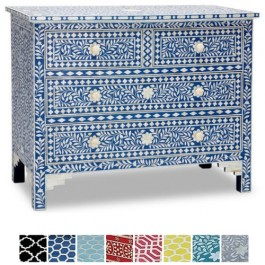 Maaya Bone inlay Blue Floral Chest of 4 Drawers dresser