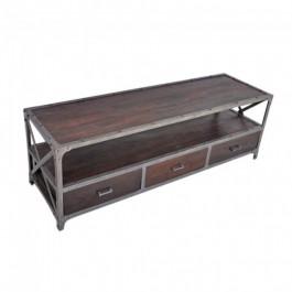 Angle Industrial Wood Metal TV UNIT