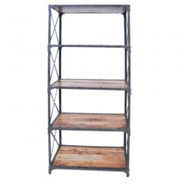 Angle Industrial Wood Metal Bookshelf