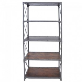 Angle Industrial Large Bookshelf book stand Chocolate 80cm