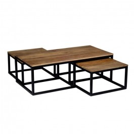 Angle Industrial Pipe Set of nested Coffee Tables Mango wood