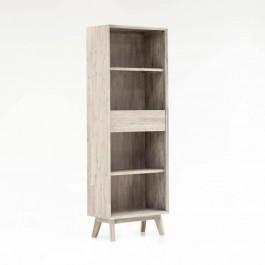 Avalon Indian Solid Wood Furniture Narrow Bookcase Whitewash