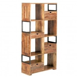 Industrial Mango Wood Tall Cabinet With 4 Drawer 8 Shelves Display Bookcase