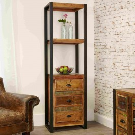 Aspen Reclaimed Wood Industrial 3 drawer tall Bookshelf stand