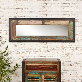 Aspen Reclaimed Wood Industrial Bathroom Wall Mirror 150cm
