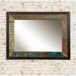 Aspen Reclaimed Wood Industrial Bathroom Wall Mirror 120cm