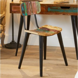 Aspen Scandi Reclaimed Wood Industrial Dining Chair Seat