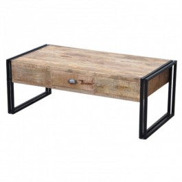 Barn Industrial Coffee Table 2 Drawers Natural