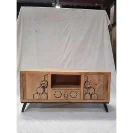 Indian Avalon Indian Solid Wood Rounded Corners TV Console Media Cabinet    132x41x61cm