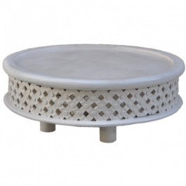 Bristol Carved Legs Round Coffee Table White 80cm