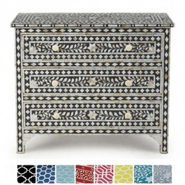 Maaya Bone inlay Black Floral Chest of 3 Drawers dresser