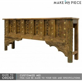Brass work Design Hand Carved Solid wood Hall Table Brown