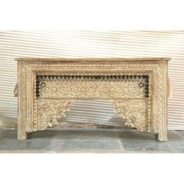 Antique Hand Carved solidwood Hall table GUJARAT whitewash