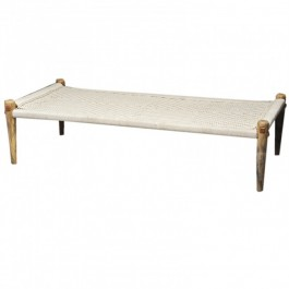 Indian Manjhi Woven Charpai Daybed White L