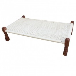 Indian Solid Wood Charpai Khat Manjhi Woven Charpoy Daybed White L