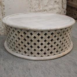 BRISTOL Balimeke wooden round drum mesh Coffee Table Whitewash