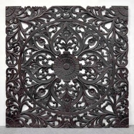 Dynasty carved wooden wall panel bed head board bedhead Chocolate