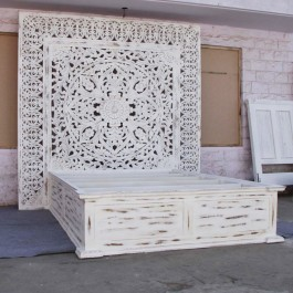 Dynasty hand carved Indian Solid wooden Jody bed frame White