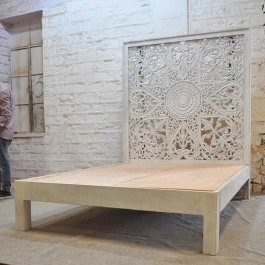 Dynasty hand carved Indian Solid wooden Kerri bed frame White