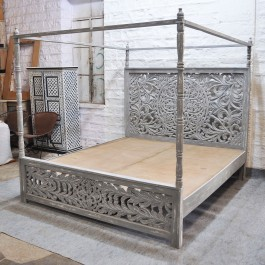 Dynasty hand carved Indian wooden 4 post bed frame Grey
