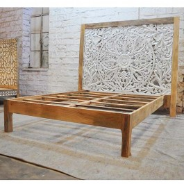Dynasty hand carved Indian Solid wooden Zara bed frame 2 Tone
