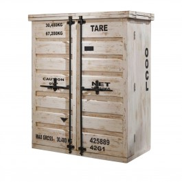 Earth wood Container Style Bar Cabinet
