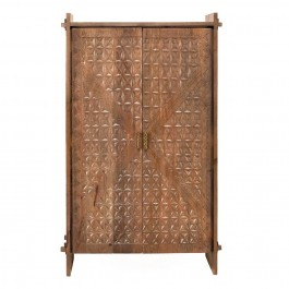 Hand Carved Indian Solid Wood Diamond Pattern Wardrobe Cabinet Brown
