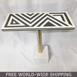 Real Bone Inlay Designer rectangular Table Top with Stand BLACK