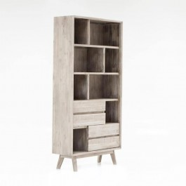 Avalon Indian Solid Wood Furniture Narrow Bookcase Whitewash B