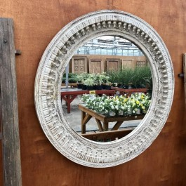 Hand Carved Indian Solid Wood Ornate Circular Mirror Frame