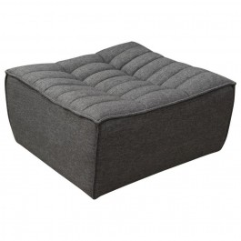 Scooped Seat Ottoman Grey Fabric