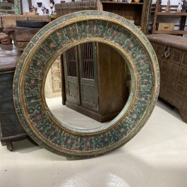 Mughal Hand Painted Indian Solid Wood Round Mirror Frame