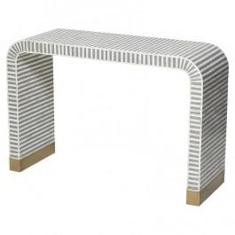 Maaya Bone inlay Grey White Striped Console Hall table