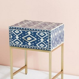Maaya Bone Inlay Square lamp Table on metal stand