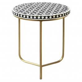 Maaya Bone Inlay Round lamp Table on metal stand