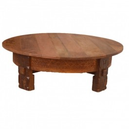 Tribal Grinder Round Coffee Table Honey