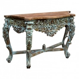 Hand Carved Console Table Blue Natural Top