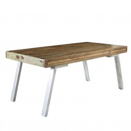 Lava Industrial Curve Sheesham Modern Dining Table 1.8m 6-8 seater