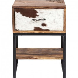 Lava Industrial Leather Cowhide side table lamp stand bedside table