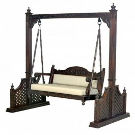 Elephant Design Hand Carved Swing Daybed Brown 1.8M