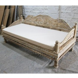 Mughal Garden Hand Carved Peacock Daybed Limewash
