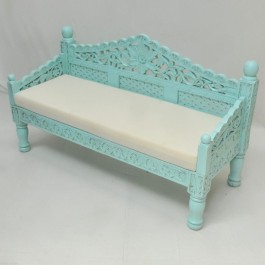 Mughal Garden Hand Carved Balinese Daybed Turquoise S