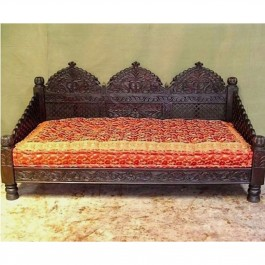 Mughal Garden Hand Carved Indian Daybed Chocolate Deep