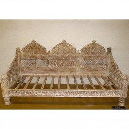 Mughal Garden Hand Carved Indian Daybed Whitewash Deep