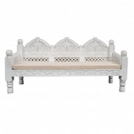 Mughal Garden Hand Carved Indian Daybed White 180cm
