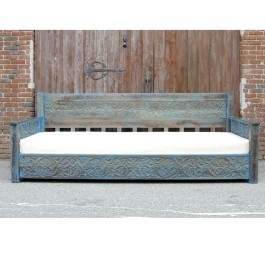 Mughal Garden Hand Carved Rustic Floral Daybed Blue