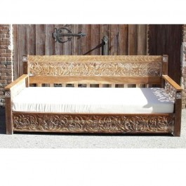 Mughal Garden Hand Carved Rustic Floral Daybed Whitewash